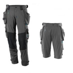 Mascot Workwear Trousers 17031 + Mascot Shorts 17149 Holster Pockets – Grey