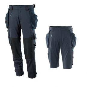 Mascot Workwear Trousers 17031 + Mascot Shorts 17149 Holster Pockets - Navy