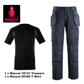 Mascot Trouser 10131 & T Shirt 50185 Bundle - Navy / Grey 1