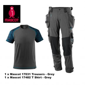 Mascot Trouser 17031 & T Shirt 17482 Bundle - Grey 3