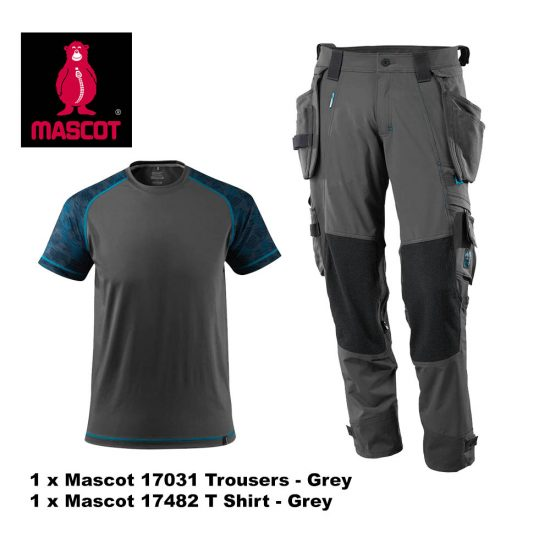 Mascot Trouser 17031 & T Shirt 17482 Bundle - Grey 1