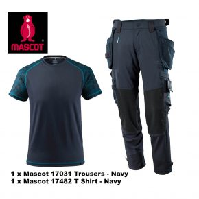 Mascot Trouser 17031 & T Shirt 17482 Bundle - Navy 2