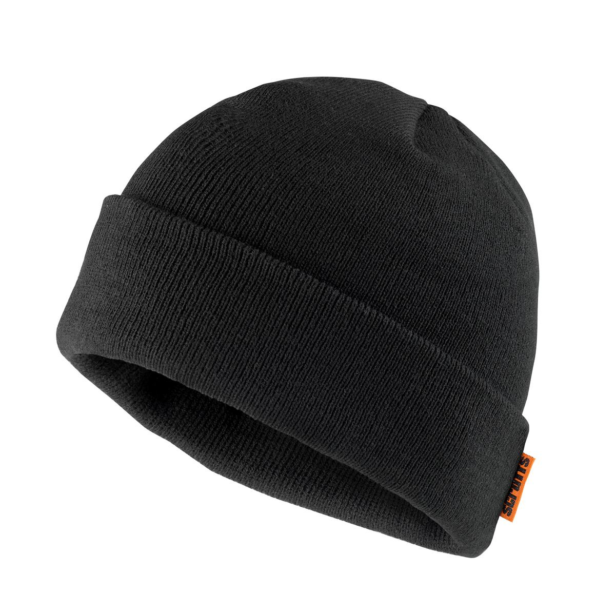Thinsulate Peaked Knitted Black Beanie Hat Winter Hat One Size
