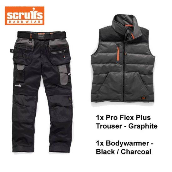 scruffs trouser bodywarmer bundle grey