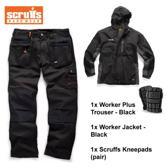 scruffs worker plus trouser worker jacket kneepad bundle black