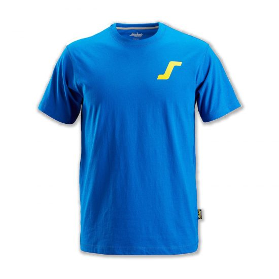"""Snickers BSS2502-B Classic T-Shirt Blue With """"S"""" Logo 1"""