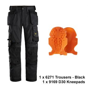 6271-9169 trouser kneepad bundle-black