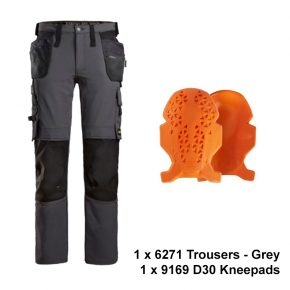 Snickers 6271 trouser kneepad bundle grey