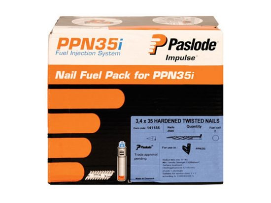 Paslode 35mm Twisted Nails 2500 box and 2 cells 1